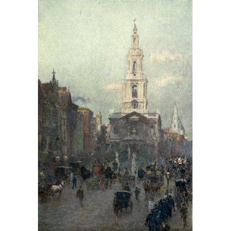 Familiar London 1904 St Marys Le Strand Canvas Art - Rose Barton (18 x 24)