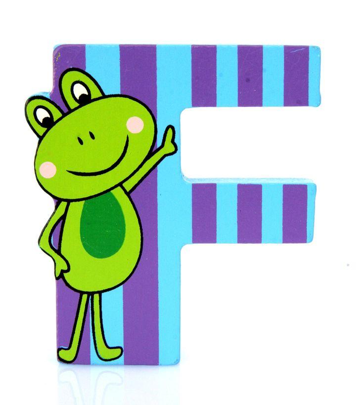 Simpatica lettera F in Legno con l'aspetto di una Rana, per decorare e rendere più bella la cameretta componendo nomi, frasi. Sono disponibili tutte le lettere dell'alfabeto  Si puo' fissare con colla, biadesivo oppure Può essere appoggiata su una mensola oppure si puo' fissare con colla o biadesivo o possono anche essere utilizzate per giocare.  Dimensioni cm 7 x 6,5 x 1  Materiale: Legno.   I colori possono cambiare in base alle disponibilita'