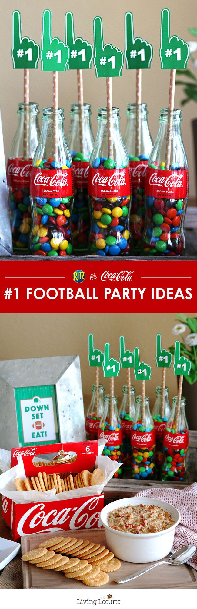 Free Football printables. These simple football party ideas and cute free football printables are a perfect way to decorate your home for game day. Decorate your home with classic Coke glass bottles and a football printable. DIY Football Party Ideas by LivingLocurto.com