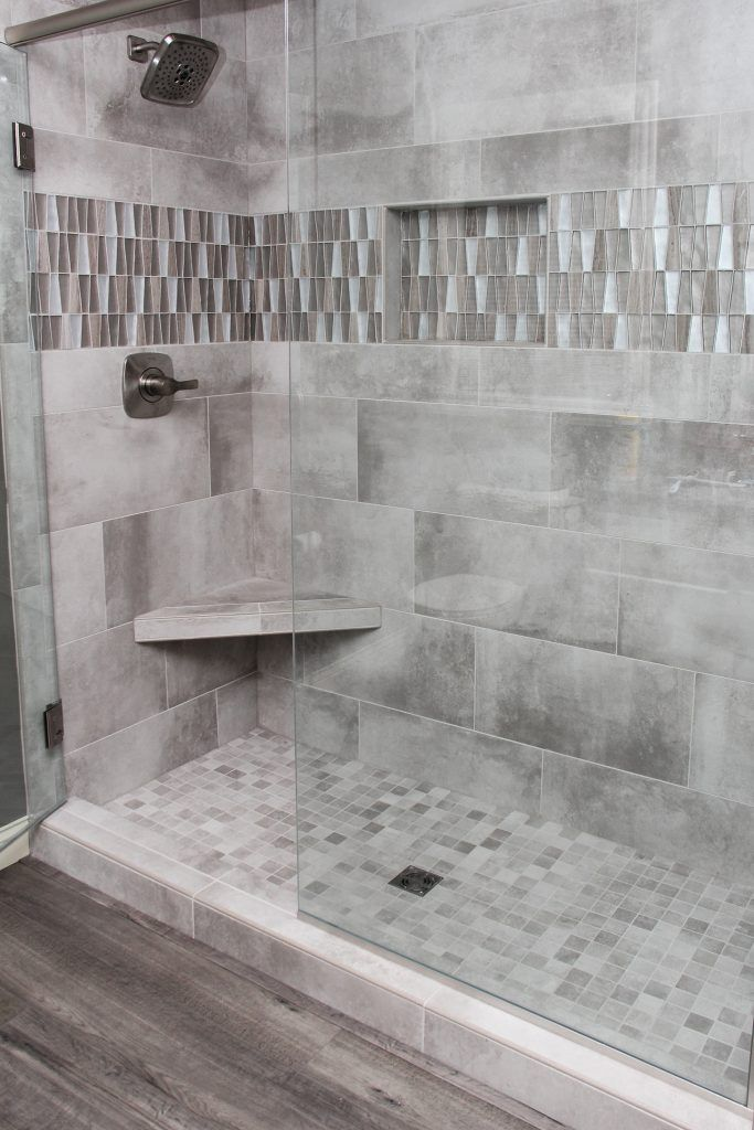 Grey Tiled Shower With Accent Tile Strip And Niche Shower Tile Shower Tile Designs Shower Wall Tile