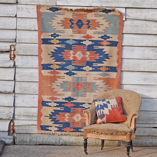 Vintage Handmade Turkish Rug - Medium - Indigo & terracotta from HomeBarn UK