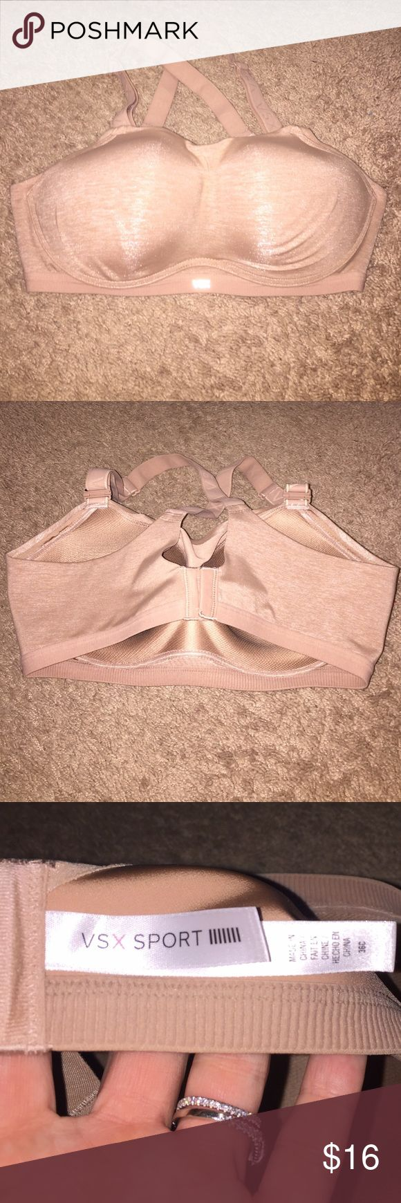 Victoria's Secret nude sports bra! Incredible 💋 This has been washed but never worn. Bought it to work off the baby weight but didn't start running until the girls were too small to fit tho size! Victoria's Secret Intimates & Sleepwear Bras