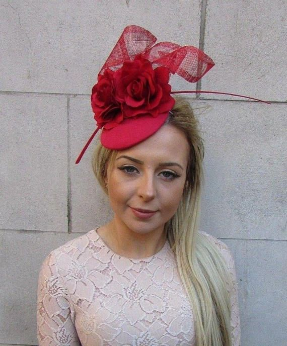 Red Rose Flower Feather Pillbox Hat Hair Fascinator Wedding