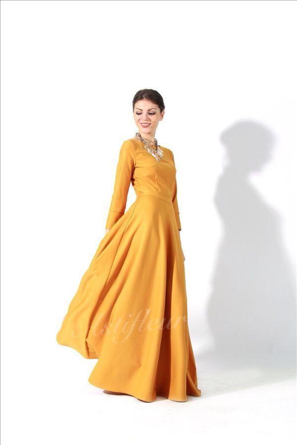 Платье длинное горчичное - платье, платье в пол, горчичный цвет, горчичный, желтое платье