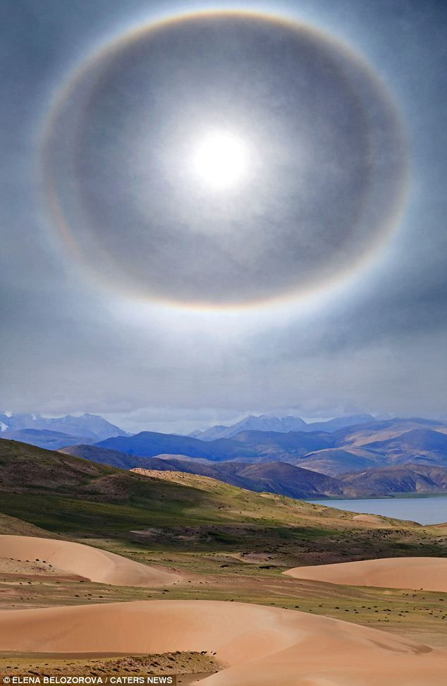 This incredible halo around the Sun was captured by a Russian photographer as she travelled across the Tibetan desert