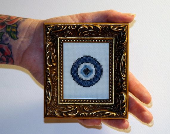 Mini Nazar   Evil Eye Protection  Framed Cross by bombastitch, $31.00