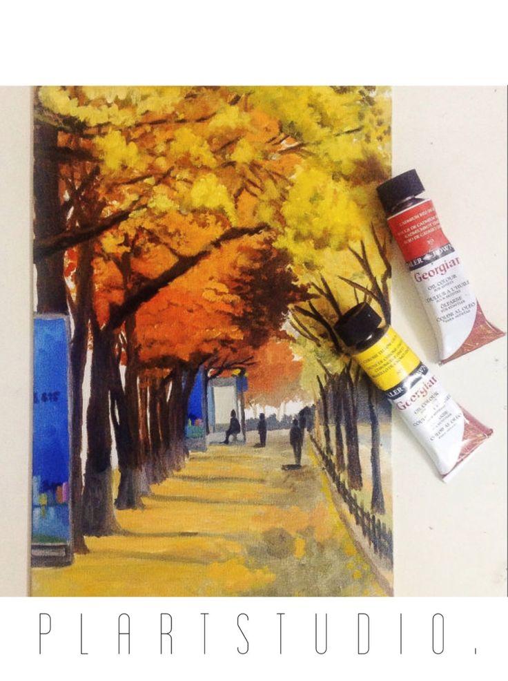 Sidewalk with trees in Kim Ma street Hanoi autumn landscape original oil painting 40x25cm by PlartStudio on Etsy