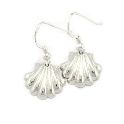 Pilgrim shell earrings in sterling silver. Handmade in Galicia with traditional methods. Artcraft of The Way of St.James. Tax free $17.90