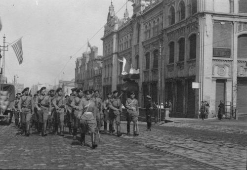 Members of the White Guard marching on the streets of Vladivostok, 1919-20. Photo by Merrill Haskell.