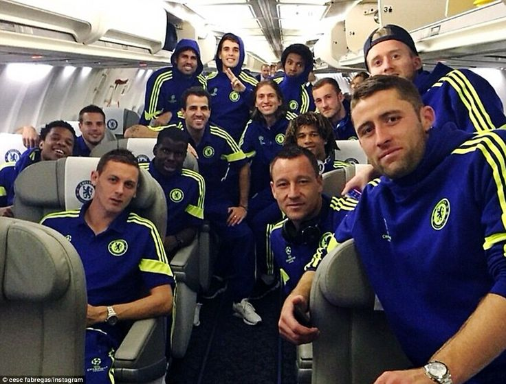 Fabregas (centre) posted a picture on his Instagaram account with his Chelsea team-mates c...