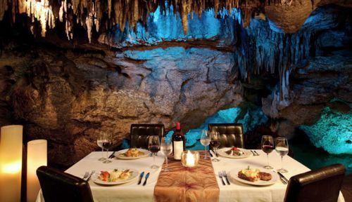 Alux restaurant, Playa del Carmen, Mexico Bar inside a cave!