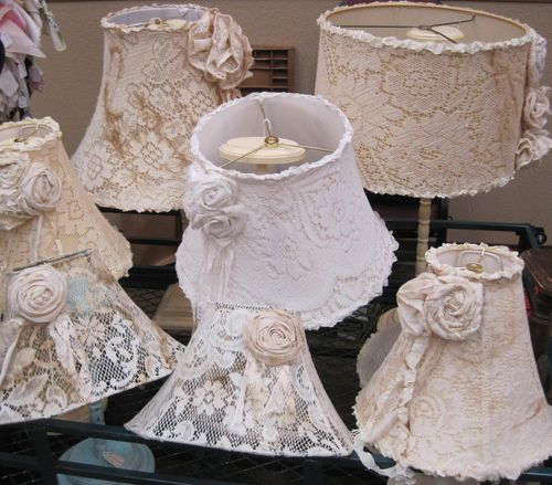 Shabby Interior Design Ideas: Lace Panel Lampshades via queenbee