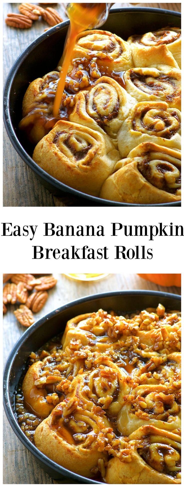 Easy Banana Pumpkin Breakfast Rolls