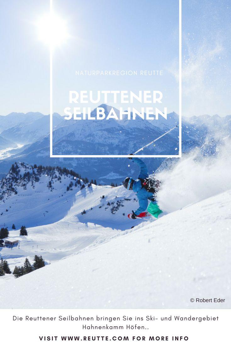 Die Reuttener Seilbahnen bringen Sie ins Ski- und Wandergebiet Hahnenkamm Höfen. Von dort aus können Sie den herrlichen Ausblick auf den Talkessel genießen, und im Winter Ihre Schwünge über die gut präparierten Pisten ziehen. #naturparkregionreutte #reutte #winter #places #erleben #hahnenkamm #ski #skigebiet #seilbahn