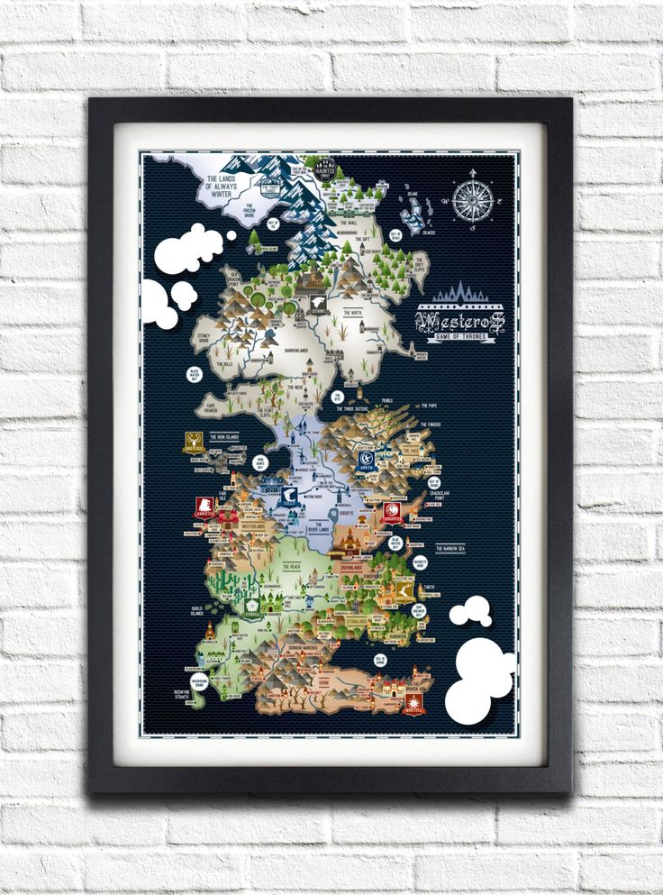 Game of Thrones - Westeros Map - 17x11 Poster by bensmind on Etsy https://www.etsy.com/listing/123179653/game-of-thrones-westeros-map-17x11