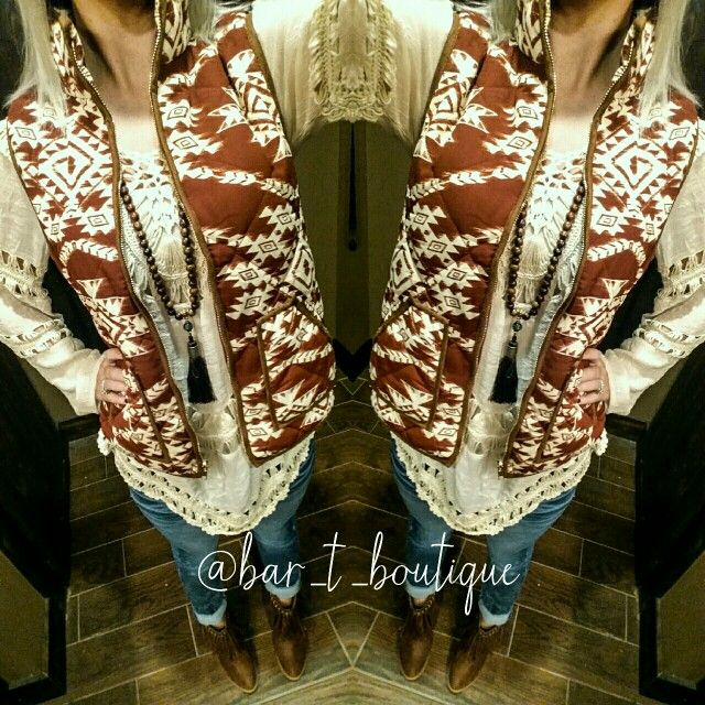 #OOTD Rust Aztec Vest, Tassel Necklace, Skinny Jeans, Fringe Booties ~ Follow @bar_t_boutique on Instagram to Shop Weekly New Arrivals!