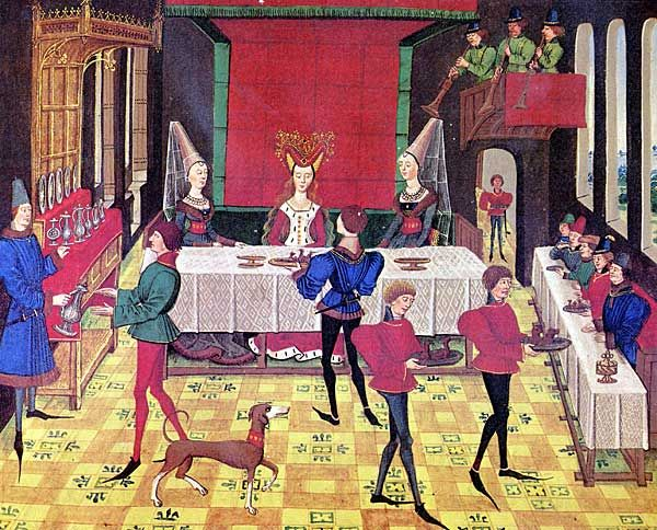 Wedding feast. Histoire de Renaud de Montauban, 1468-1470 (Bruges). BnF Arsenal MS 5073 fol. 148. Bibliothèque de l'Arsenal, Paris. The serving of the meal is supervised by the maître d'hôtel. The panetier sees to the table setting and bread trenchers. The échanson supervises the wine. The fruitier serves hazelnuts and dried plums.