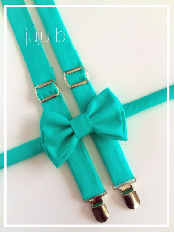 Suspender and Bow Tie Set Aqua Suspender Teal by JujuBabyBoutique
