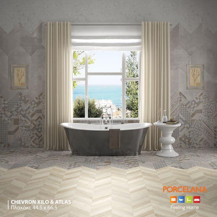 Πειραματιστείτε και χαρίστε μια ιδιαίτερη νότα στο χώρο του μπάνιου σας, συνδυάζοντας τα εντυπωσιακά πλακάκια #Chevron μεταξύ τους. Το αποτέλεσμα θα είναι πλούσιο και ατμοσφαιρικό!