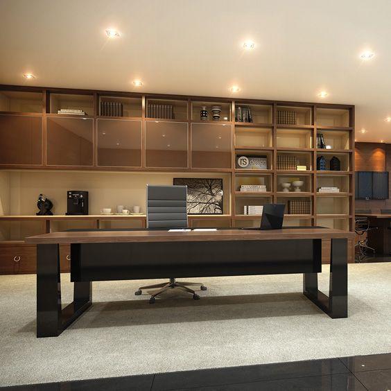Mesa executiva da linha Millenio (alto padrão) e estante totalmente planejada. Sofisticação e exclusividade by RS Design.