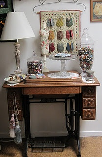 Love the old sewing table.