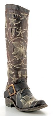 Womens Old Gringo Anaca Stitch Boots Chocolate #L1006-3 -- beautiful floral stitching.