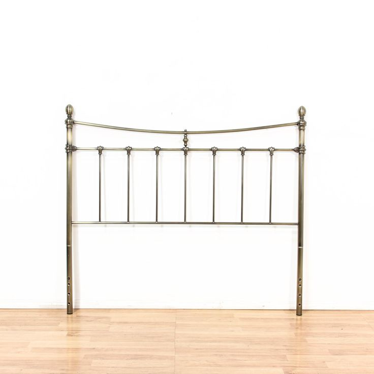Queen Brass Silver Metal Headboard - Loveseat is the best way to buy vintage home furniture in San Diego & Los Angeles. Shabby Chic, Vintage, Mid Century Modern and much more.