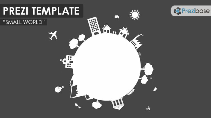 Prezi Template with a small and flat style white planet earth illustration.  Amaze your audience with a creative presentation and take them on a journey around the world.  A simple yet very detailed Prezi Template, suitable for a variety of presentation topics.  Objects on the globe: people, home, house, office, car, bike, mountain, school, bank satellite, airplane, sun, clouds.  Zoom anywhere inside the objects and add your own content or story.