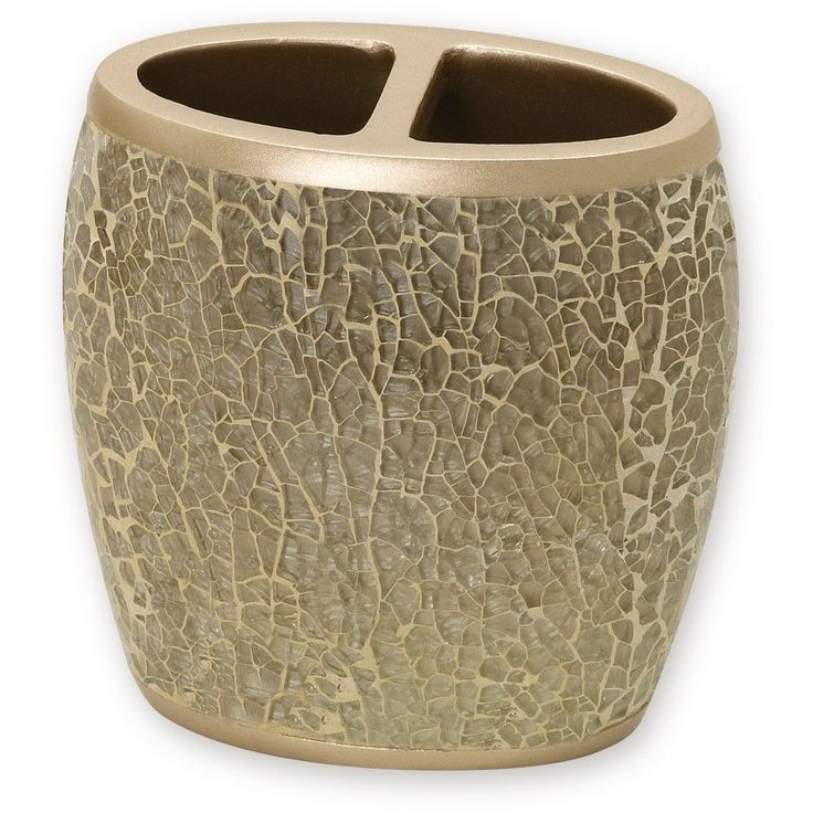 India Ink Huntington Resin and Cracked Glass Contemporary Toothbrush Holder - Champagne (Beige)