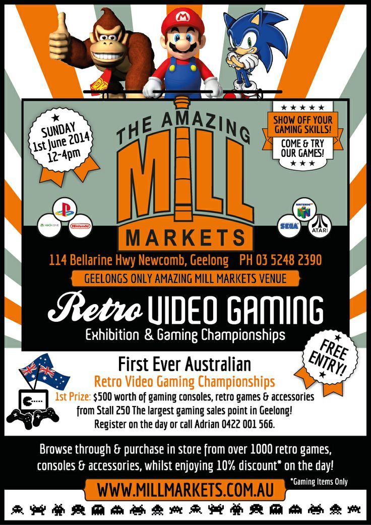 Retro Video Gaming Championship June 1, Amazing Mill Markets Geelong. #gaming #retrogaming #videogames #retro #vintage