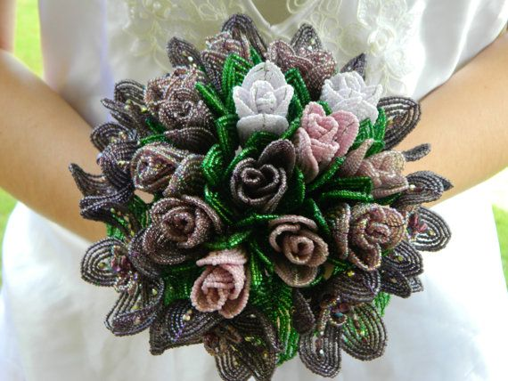 Amethyst French Beaded Flower Bridal Bouquet by BeadedFleur.  A little too dark in color for me but I like.