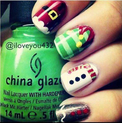 Holiday nails winter nails Christmas nail art