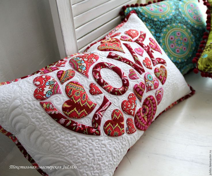 """Купить подушка """"LOVE"""" - белый, красный, сердце, любовь, love, Аппликация, интерьер, подушка"""