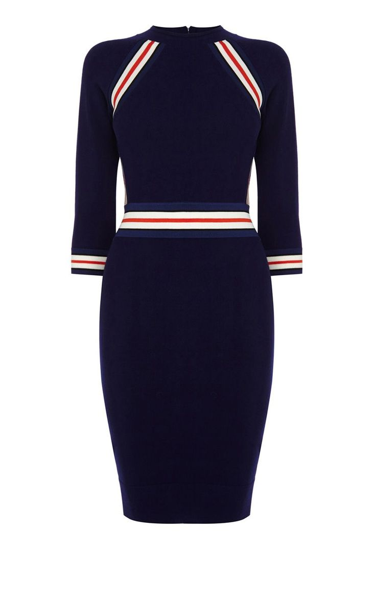 Karen Millen Placed Stripes Stretch Dress, Navy - http://clickmylook.com/product/karen-millen-placed-stripes-stretch-dress-navy