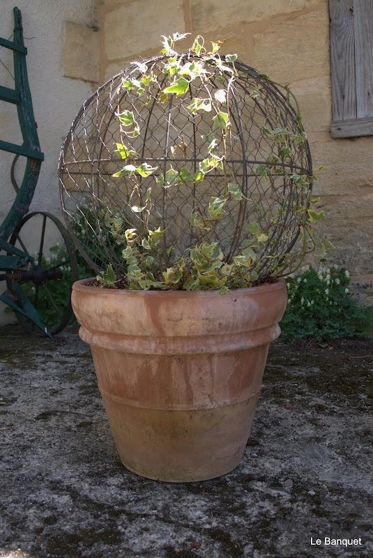 Ivy sphere. Terra cotta pot.