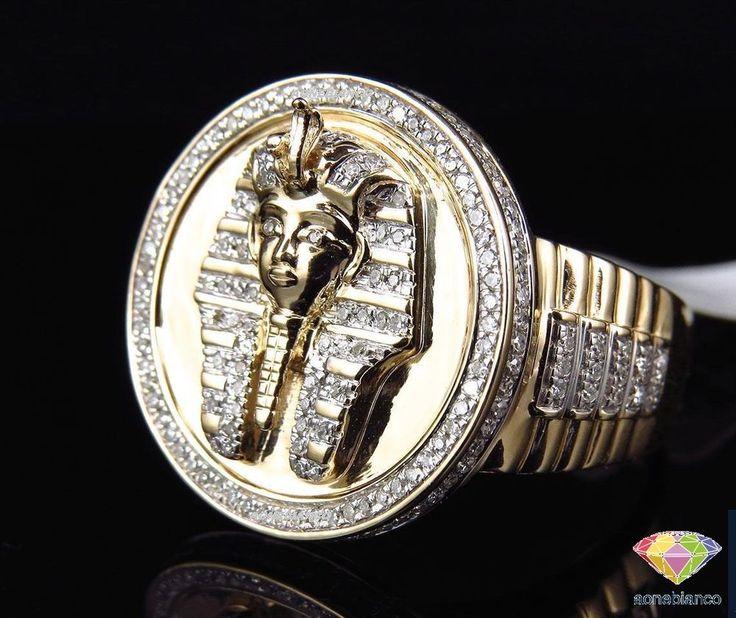 10k Yellow Gold Mens XL Round Diamond Egyptian Pharaoh Fashion Pinky Ring 2.0 ct #aonebianco #PinkyBandRing