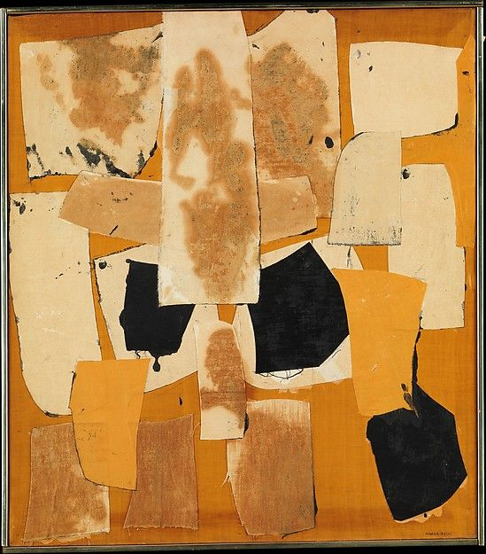 Yellow Collage  Artist:Conrad Marca-Relli (American, 1913–2000) Date:1960 Medium:Collage of canvas on canvas Dimensions:23 x 26 1/8 in. (58.4 x 66.4 cm) Classification:Paintings
