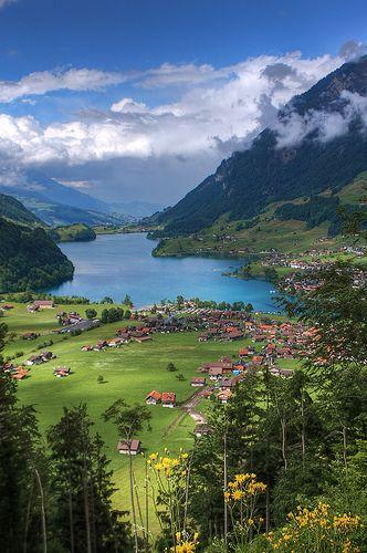 Lush landscape in Lungern, Switzerland.