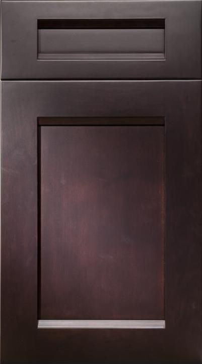 The  Chicago Maple Ebony cabinet by Elmwood embodies the same simple design and rich, deep stain as the cabinetry in the inspiration image.
