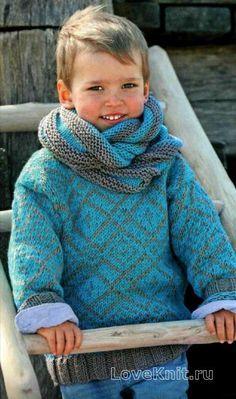 Схема схемы вязания спицами детская кофта с жаккардовым узором и шарф-хомут