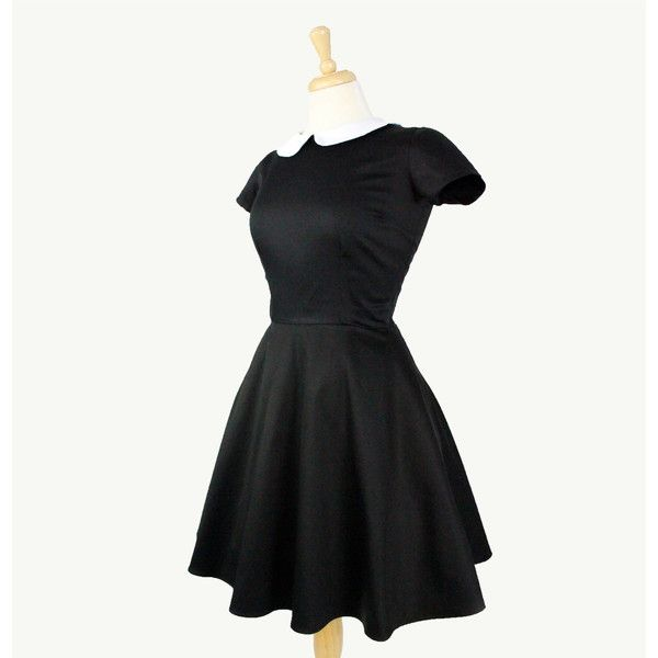 Classic Wednesday Addams Black Skater Dress ($60) ❤ liked on Polyvore featuring dresses, flared skirt, skater dresses, skater skirt, vintage style dresses and skater skirt dress
