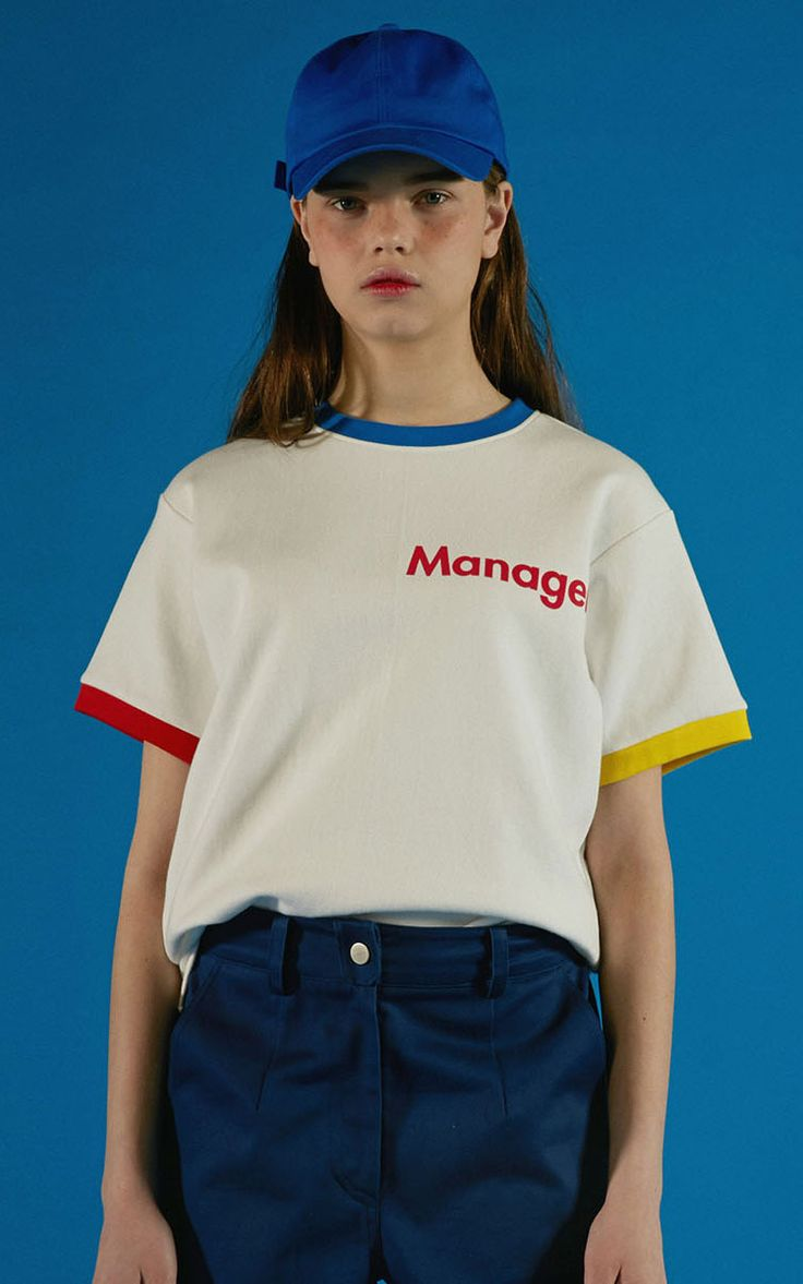 [ADERerror]アーダーエラー韓国白ホワイトTシャツカットソーロゴプリントManager T-SHIRTS