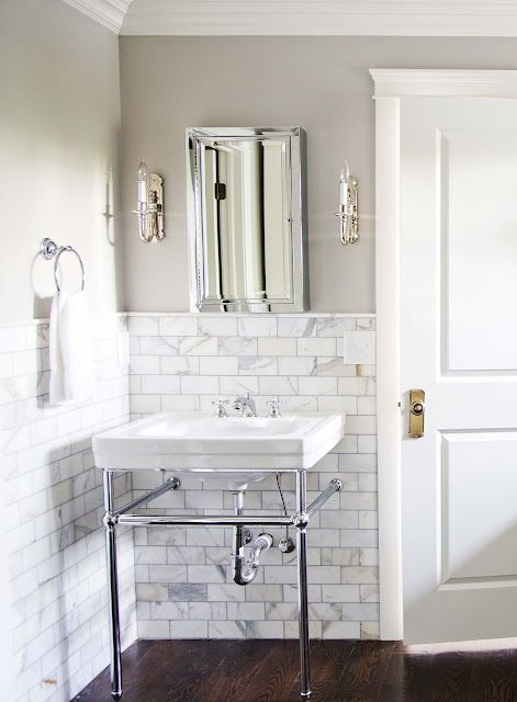 calcutta gold marble tile with revere pewter walls