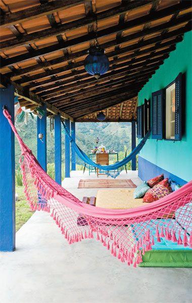 Love the colourful hammock.
