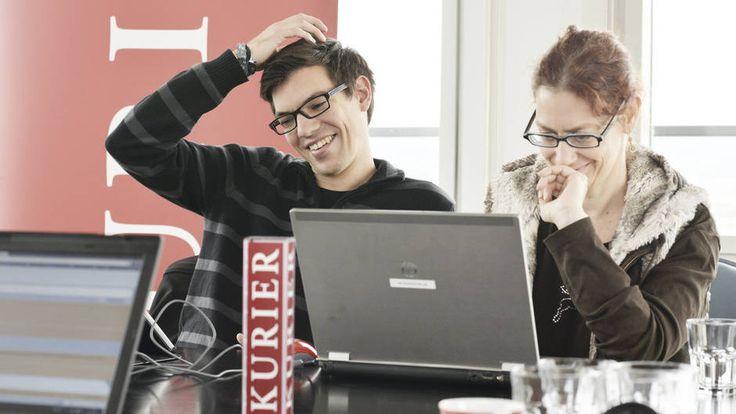 20.9.2013: Mario Wieser (Spitzenkandidat der Piratenpartei Österreich) im KURIER Wahlchat (mit KURIER-Redakteurin Nicole Kolisch). Foto: Jeff Mangione