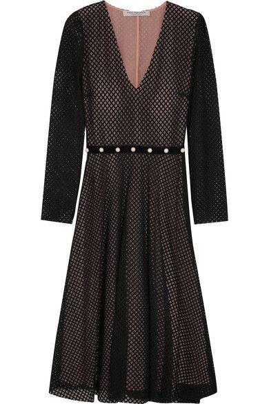 Philosophy di Lorenzo Serafini - Faux Pearl-embellished Cotton-blend Lace Dress - Black - IT46