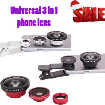 3 in 1 universal 0.4X Super Wide+0.29x Fisheye+Macro phone clip celular Lens para lentes for iphone 6 5 5s plus for samsung