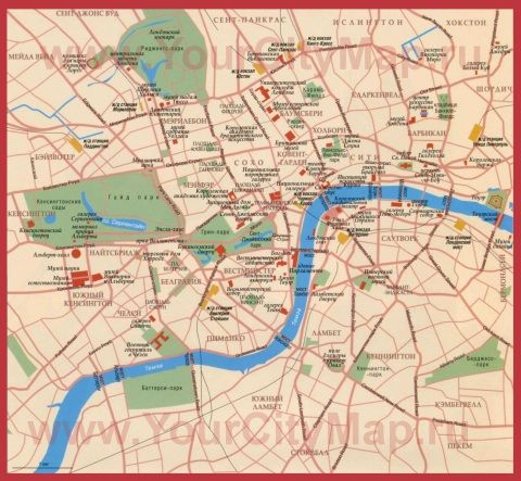 Карта Лондона на русском языке с достопримечательностями