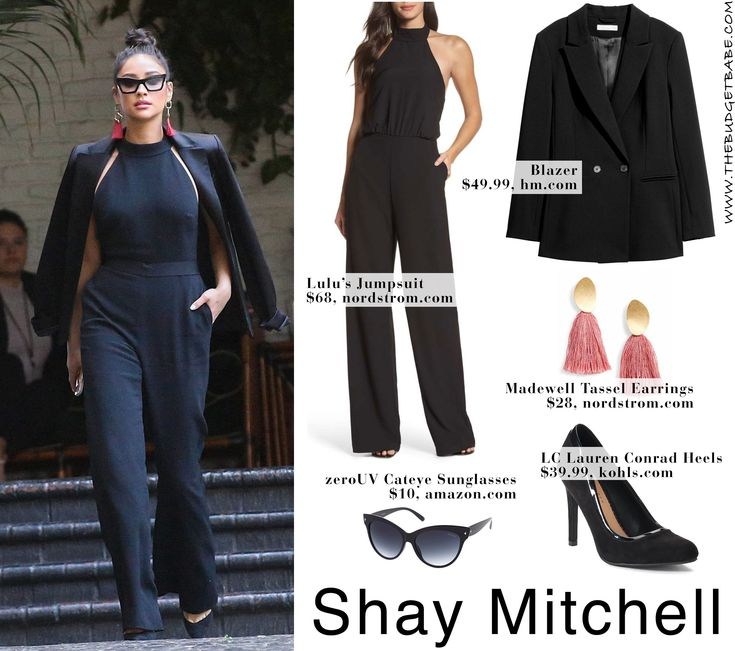 Shay Mitchell looks chic in a black jumpsuit and pink tassel earrings. Get her look for less!