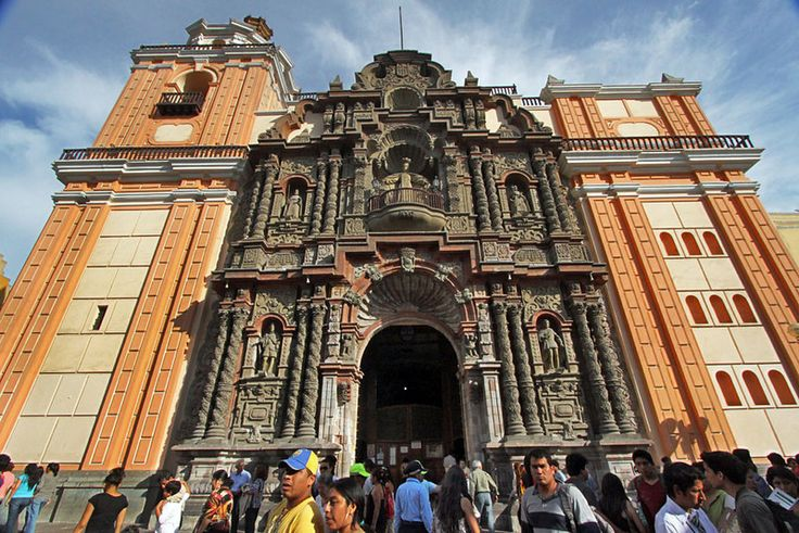 Intricately Sculpted Church Facade on Jiron de la Union, Lima, Peru